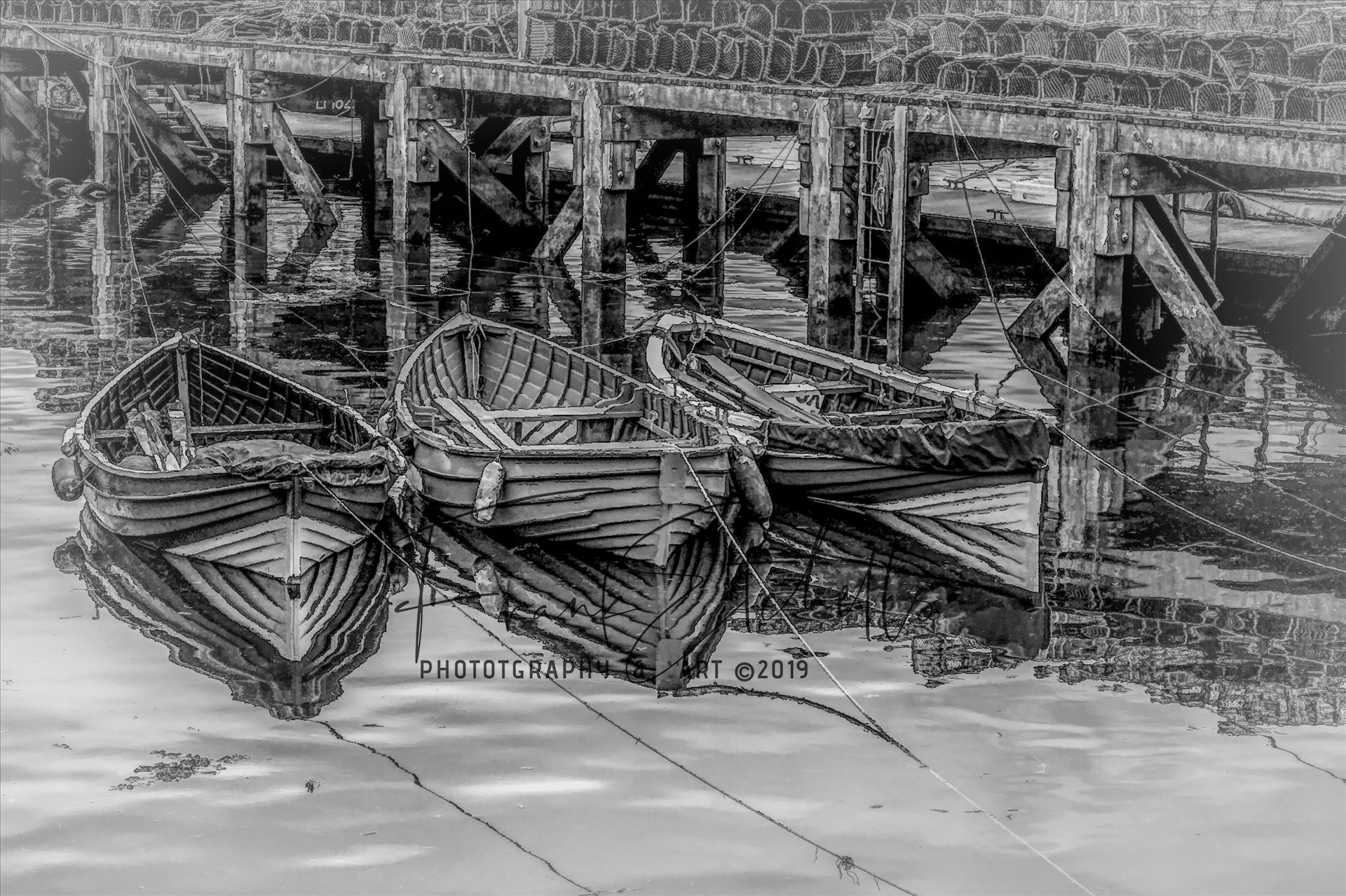Tethered Boats, Whitby 1, Edit; Cartoon-BWII - On a trip to Whitby in Yorkshire in 2012 and a walk through the town brought us to the harbour quay side and these small tethered boats, their bows and ropes reflected in the sea water and lobster pots neatly in stacks on the walkway. 'Cartoon' BWii edit. by Frank Etchells Photography