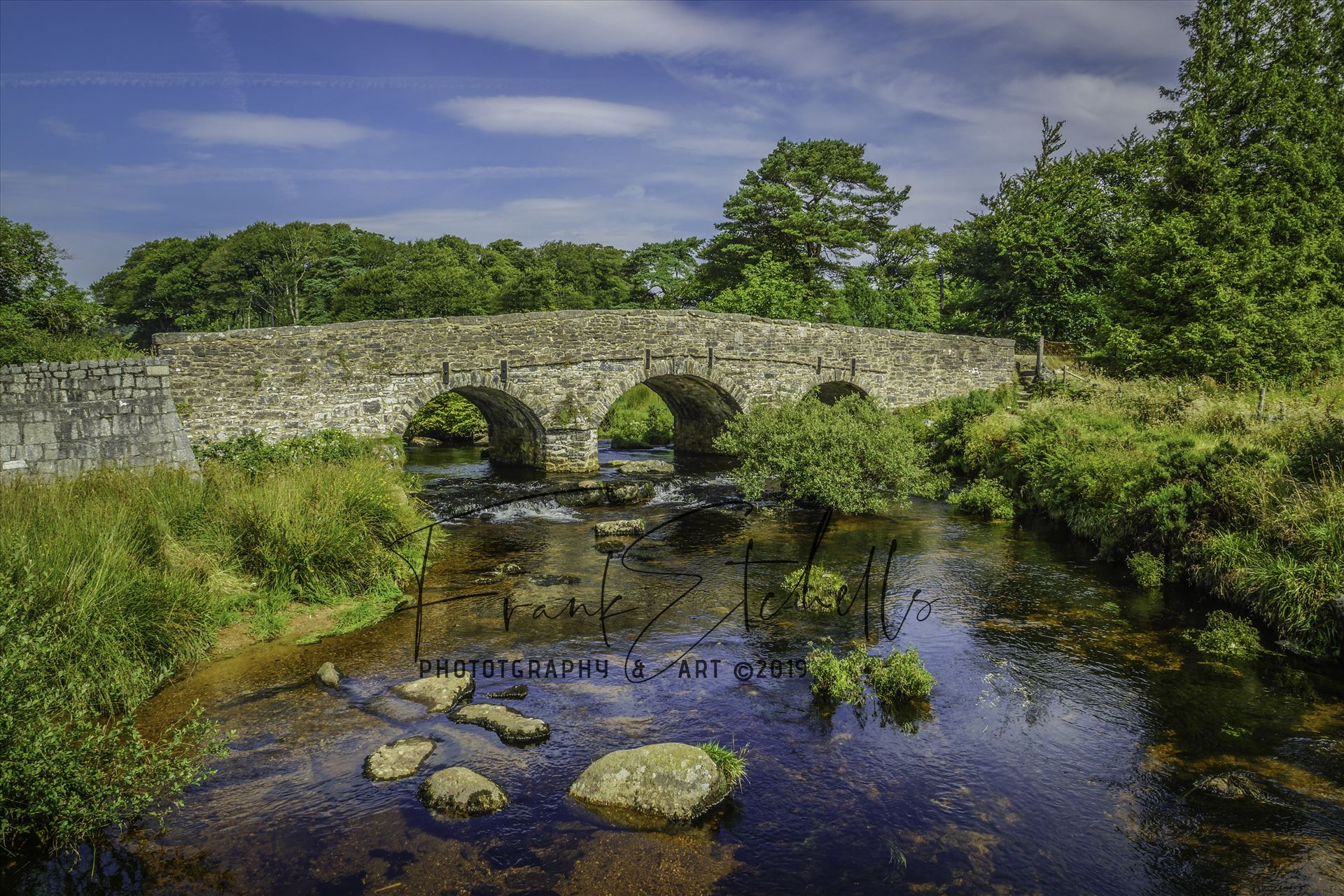 East Dart River Bridge 5 - A view of the bridge over the East Dart River at Postbridge, Dartmoor National Park from the