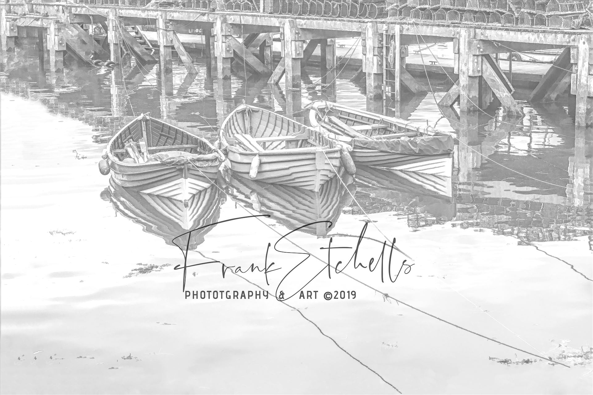 Three Tethered Boats Whitby. Edit; Pencil 2 - 'Three Tethered Boats, Whitby' to portray the boats as light pencil sketch and light reflections to the surface of the water. *Slight variation to 'Pencil 1'* by Frank Etchells Photography
