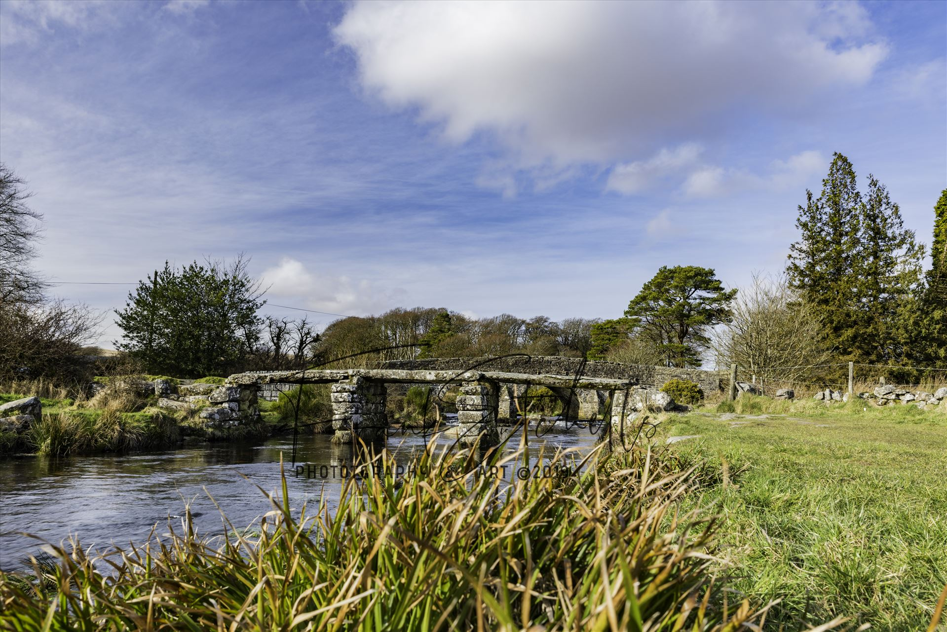 Postbridge Clapper Bridge 1 - A view of the 'Clapper Bridge' at Postbridge in the Dartmoor National Park on a cold February day visit. by Frank Etchells Photography