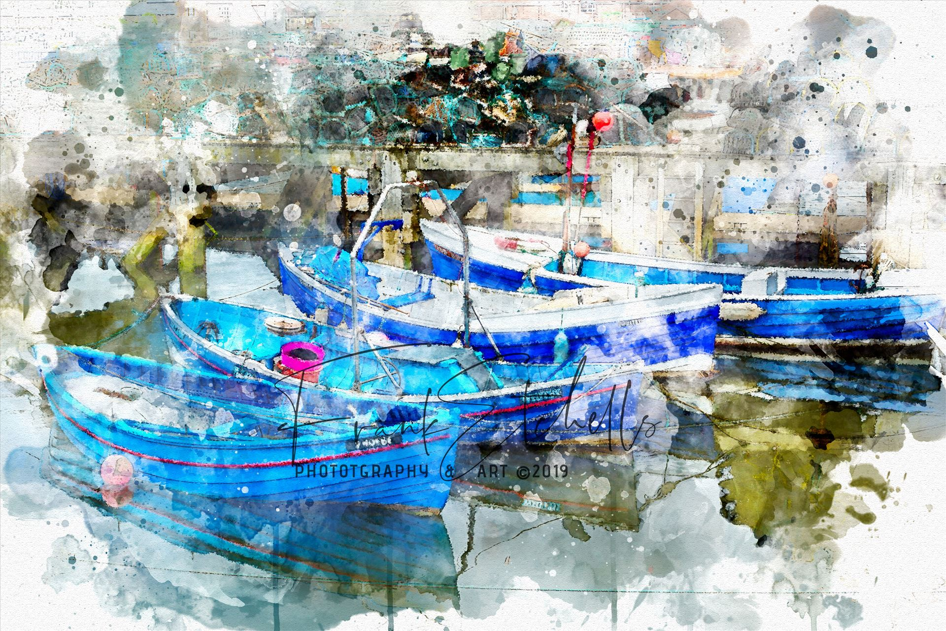 "Four Tethered Boats Whitby A ""Watercolour"" digital conversion/rendition of an image taken in 2012 on a visit to Whitby, Yorkshire in 2012. A walk through the town brought us to the harbour quay side and these tethered boats, colourful and clean, nicely reflecting in the water..."