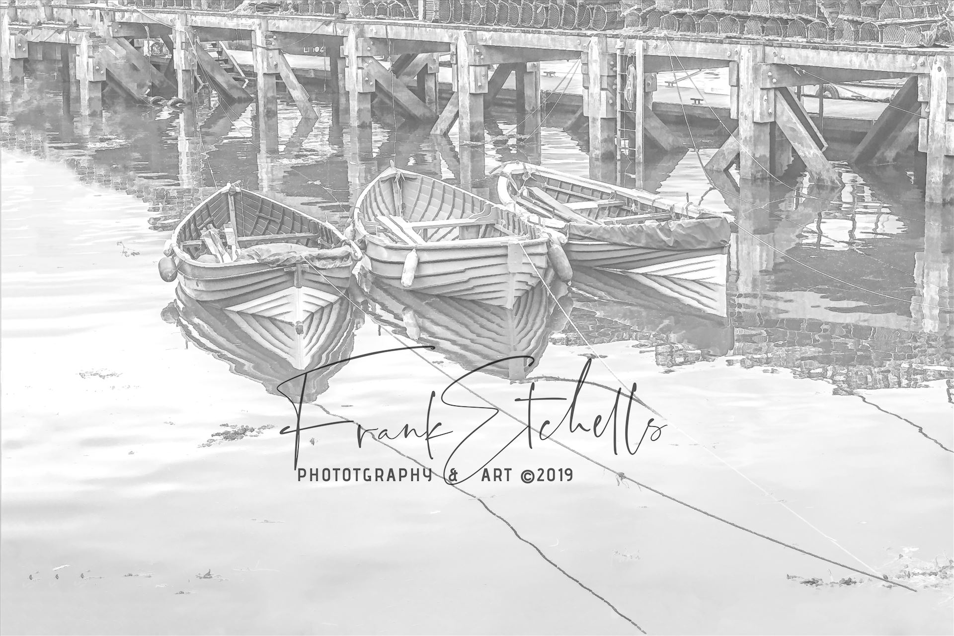 Three Tethered Boats Whitby. Edit; Pencil 1 - 'Three Tethered Boats, Whitby' to portray the boats as light pencil sketch and light reflections to the surface of the water. *Slight variation to 'Pencil 2'* by Frank Etchells Photography