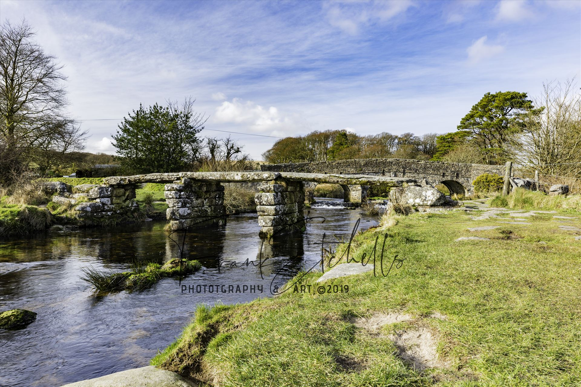 Postbridge Clapper Bridge 2 - A view of the 'Clapper Bridge' at Postbridge in the Dartmoor National Park on a cold February day visit. by Frank Etchells Photography