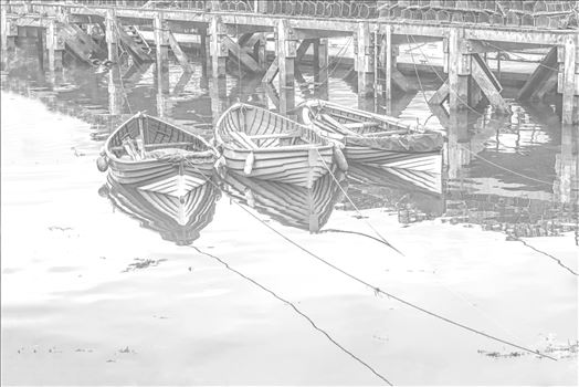 'Three Tethered Boats, Whitby' to portray the boats as light pencil sketch and light reflections to the surface of the water. *Slight variation to 'Pencil 1'*