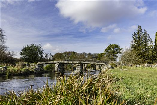 A view of the 'Clapper Bridge' at Postbridge in the Dartmoor National Park on a cold February day visit.