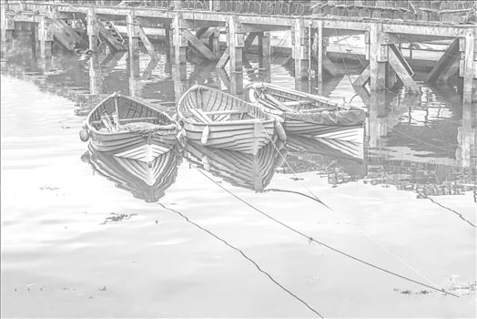 Three Tethered Boats Whitby. Edit; Pencil 1 - 'Three Tethered Boats, Whitby' to portray the boats as light pencil sketch and light reflections to the surface of the water. *Slight variation to 'Pencil 2'*